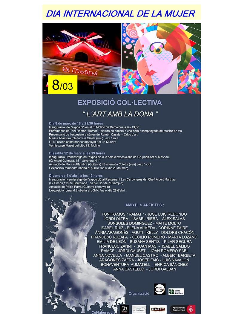 Teatro el molino día internacional de la mujer. Exposición colectiva