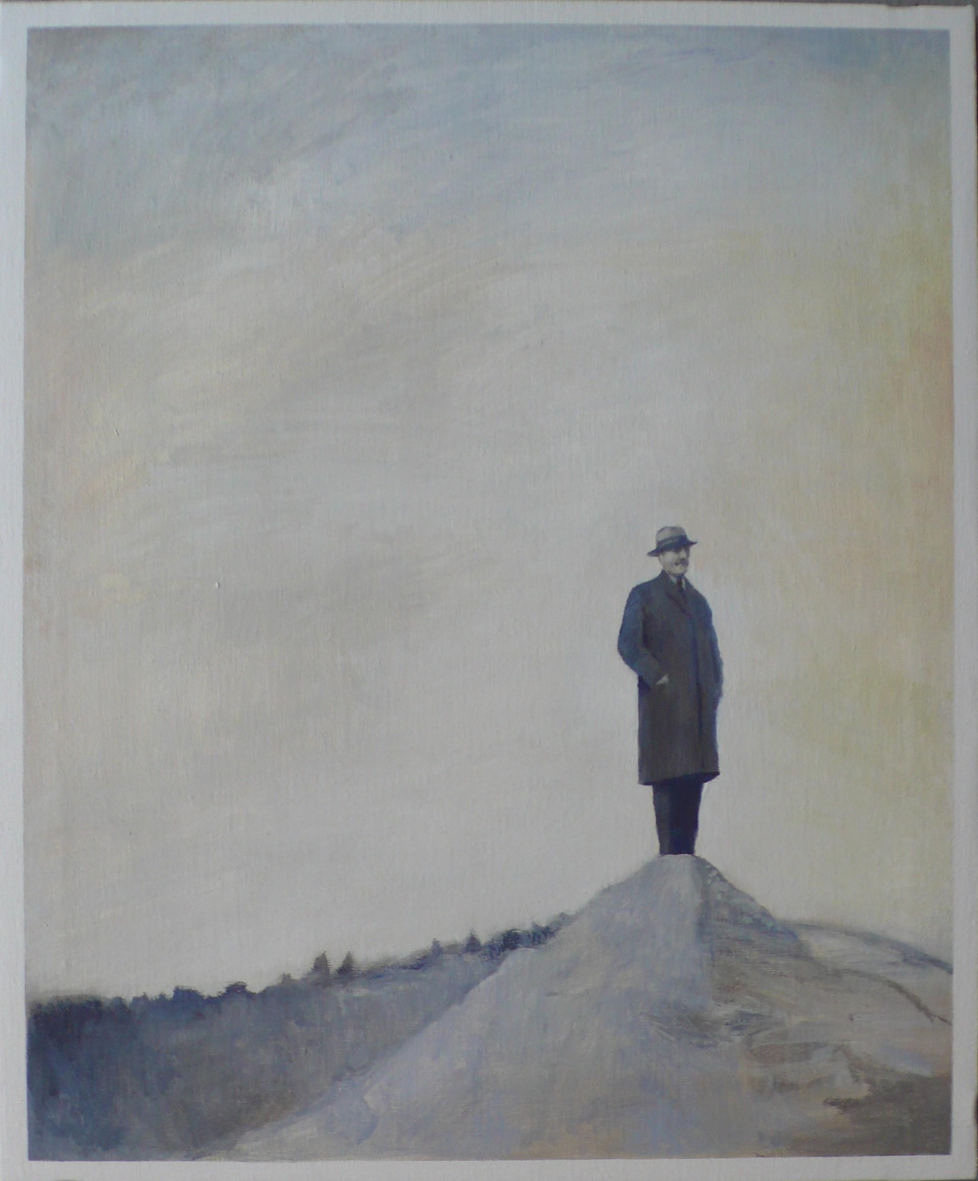 Hombre en la montaña, 2016  Óleo sobre lino  65 x 54 cm