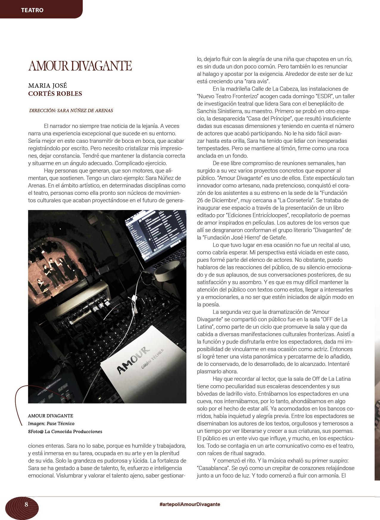 Revista Artepoli Amour divagante DIRECCIÓN: SARA NÚÑEZ DE ARENAS María José Cortés Robles