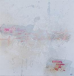 s/t , acrílico/tela 50 x 50 cm. Blanco, mucho vacío, trazos rojos/fucsia