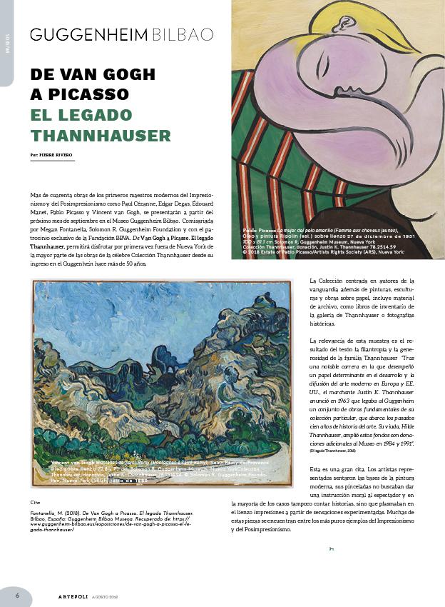 Paul Cézanne, Edgar Degas, Édouard Manet, Pablo Picasso y Vincent van Gogh