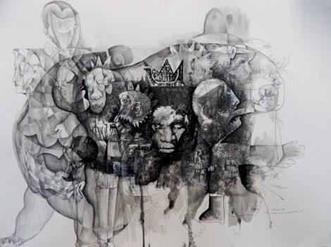 Noche-de-la-Creación-de-Basquiat-70x-50cm-mixta-cartulina-2018